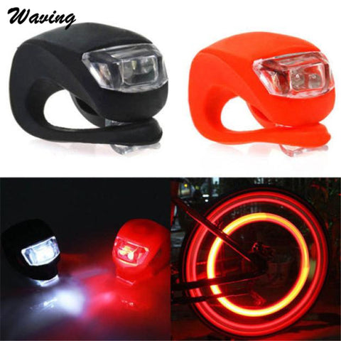 2X Head Front Rear Light Silicone 2017 New Bike Bicycle Cycling Head Front Rear Wheel LED Flash Light Lamp A#
