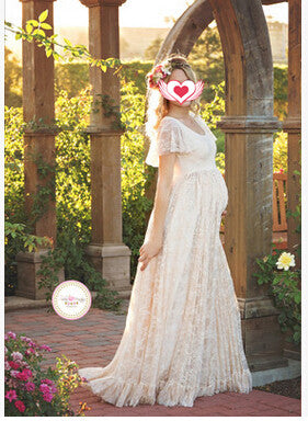 Maternity Dress For Photo Shooting Round neck White Dress Maternity Photography Props Short Sleeve Lace Pregnant Pregnancy Dress