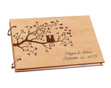 Personalized Wooden DIY Wedding Guest Book for Signature Custom Wood Rustic A4 Paper DIY Photo Album Scrapbook Sheet for Baby