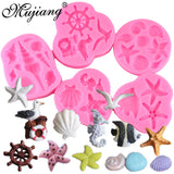 Mujiang Sea Shell Silicone Mold Fondant Cake Decorating Tools DIY Seagull Anchor Sea Horse Chocolate Candy Soap Fimo Clay Molds