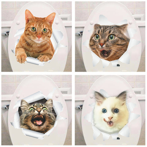 % Vinyl waterproof Cat Dog 3D Wall Sticker Hole View Bathroom Toilet Living Room Home Decor Decal Poster Background Wall Sticker