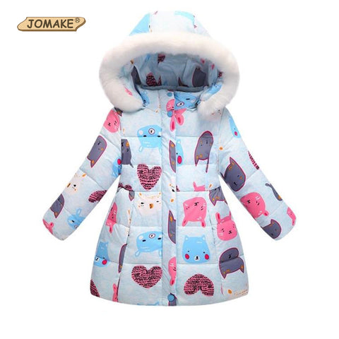 Kids Winter Fur Hooded Jackets For Girls Parkas Cartoon Cat&Rabbit Print Baby Girl Warm Coat Princess Children Thicken Outerwear