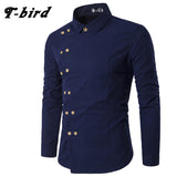 T-Bird New Brand 2017 Men Shirt Double Breasted Dress Shirt Long Sleeve Slim Fit Camisa Masculina Casual Male Hawaiian Shirts
