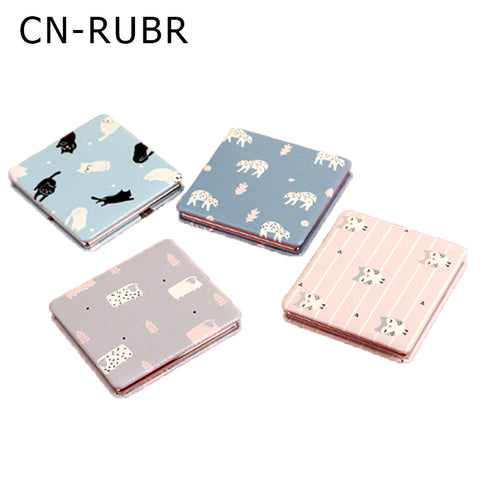 CN-RUBR Ultra-thin Makeup Mirror Portable Double-sided PU Leather Stainless Steel Pocket Mirror Compact Protective Mirror Gifts
