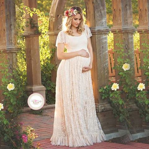 3823fb5e532d2 Gravida Maternity Photography Props Lace Dresses Off White Maternity Maxi  Dress Mama Gown Large Size Pregnant