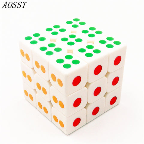 (AOSST)3*3*3 Dice Magic Cube Puzzle Cubes Speed Cubo Square Puzzle Rainbow Gifts Educational Funny Toys