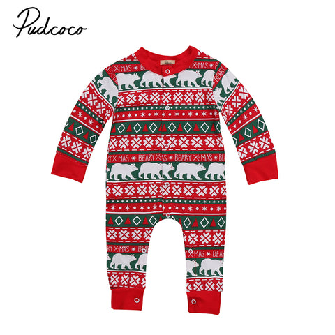 2017 Christmas Newborn Baby Boy Girl Romper Long Sleeve Cotton Jumpsuit One Pieces Playsuit Xmas Clothes 0-24M