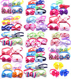 100pcs Mix All Style Dog Bow Ties Pet Necktie Popular Designs Bowtie Collar Pet Puppy Dog Ties Accessories Dog Grooming Supplies
