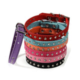 1 PC new solid Leather Pet dog Collar Small Cat  Diamante Neck Strap Cute collar for dogs pet shop dog acessorios
