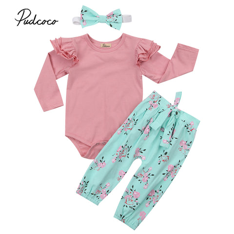 Cute Newborn Infant Baby Girl Clothes Ruffles Long Sleeve Pink Romper Tops+Floral Pant Bow Headband 3PCS Outfit Kid Clothing Set