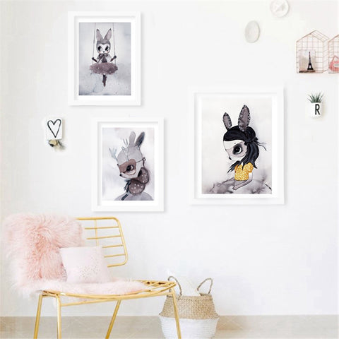 Poster Prints Nordic Decoration Nursery Girl Wall Art Canvas Painting Cute Cartoon Rabbit Print Wall Pictures Kids Girl's Room