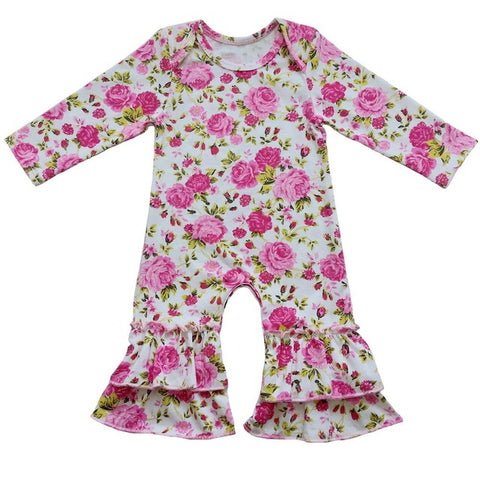 Floral Baby Girl Take Home pajama Baby Shower Gift Baby Girl Coming Home Outfit,ruffle Baby Girl rompers,Organic Newborn Clothes