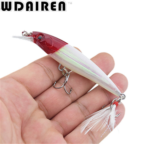 1Pcs 9cm 7.2g Hard Fishing Lure Bait Minnow Wobblers with Feather Hooks Fishing Tackle Isca Artificial Bait Crankbait Swimbait