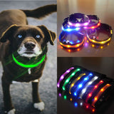 7 colors LED Nylon Dog Pet Security Night Necklace Anti-lost Flashing Glitter Collars Dog Size S~XL  F908