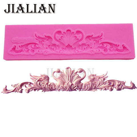 Swan shape lace border  silicone mold cake decorating tools formas de silicone Clay Resin sugar Candy Fimo Sculpey T0928