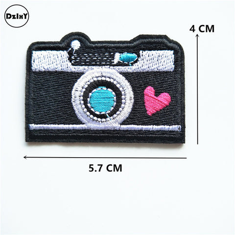 1 PCS Camera Embroidered Iron on Patches for Clothing DIY Stripes Clothes Patchwork Sticker Custom Finger Applique @Z 12-21