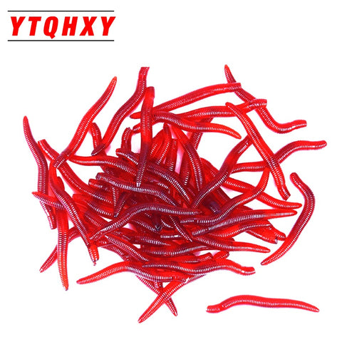 YTQHXY 50pcs/lot Smell red worm lures 35mm 0.25g soft bait carp fishing lure artificial Bait fishing tackle YE-130
