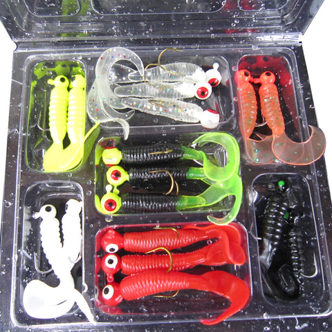 17Pcs/Set Soft Fishing Lures Lead Jig Head Hook Grub Worm Soft Baits Shads Silicone Fishing Tackle Artificial Bait Lure Pesca