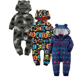 Autumn New Fleece Baby Rompers Long Sleeved Cartoon Jumpsuit Infant Hoodies Baby Girl Clothes Warm Baby Boy Overalls Clothing