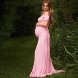 Puseky Maternity Dress Photo Shoot Maxi Maternity Gown SPLIT FRONT Maternity Gown Sexy Maternity Photography Props 7Colors