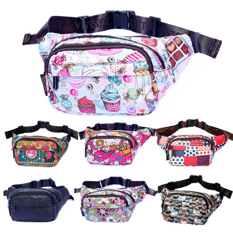 Women Designer Waterproof Nylon Floral Waist Bum Camera Belt Bag Fanny Pack Hip Purse Money Cell Phone Pouch Christmas Gift