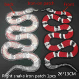 Snake Peony Pattern Embroidered Applique Patches Decoration Sew on For DIY Red iron on patch for clothing