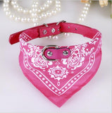 Carrywon Printed PU Leather Pet Collars Comfortable Durable Triangle Scarf Dog Collar Leather Adjustable Puppy Collar for Dogs
