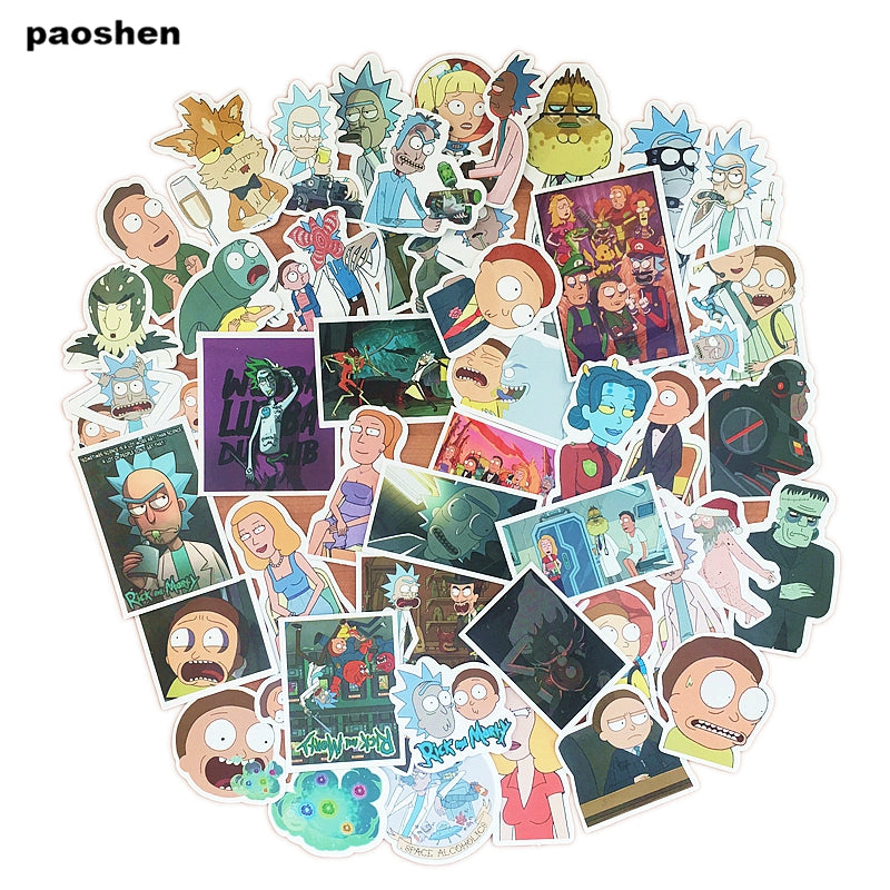 47 Pcs Rick And Morty Pvc Waterproof Cartoon Adesivos Sticker For Luggage  Skateboard Phone Laptop Moto Bicycle Wall Stickers