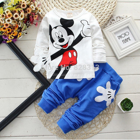 Baby Boy Clothes 2017 Spring Autumn Newborn Baby Girl Cartoon Long Sleeve T-shirt + Pant 2PCS Outfits Kids Bebes Jogging Suits