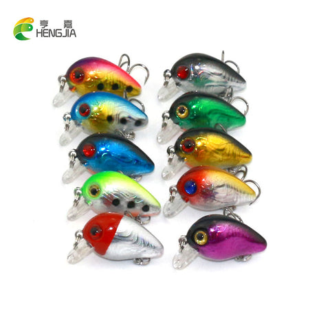 10PCS small crankbait 3CM 1.6G isca artificial 3d eye fishing lure hard bait fishing wobblers 10#hooks Japan lures HENGJIA