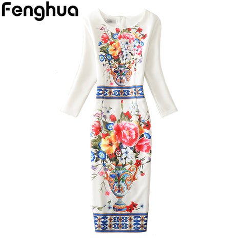 Fenghua Winter Autumn Dress Women 2017 Casual Sexy Office Party Bodycon Dress Floral Vintage Dresses Plus Size 3XL 4XL Vestidos