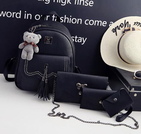 Joypessie New Design Tassel Women Backpack PU Leather Backpack for Girls Female School Shoulder Bag Vintage 5 Pcs/Set Bagpack