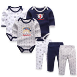 6PCS Set Baby Boy Girl Clothing Set Long Sleeves Baby Wear Spring Autumn Fashion 100% Cotton Set Baby Romper+Trousers 0-9 Months