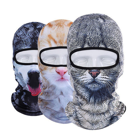 3D Cap Dog Animal Printed Halloween Party Scary Horror Mask Outdoor Bicycle Cycling Masks Hat Veil Balaclava UV Full Face Mask