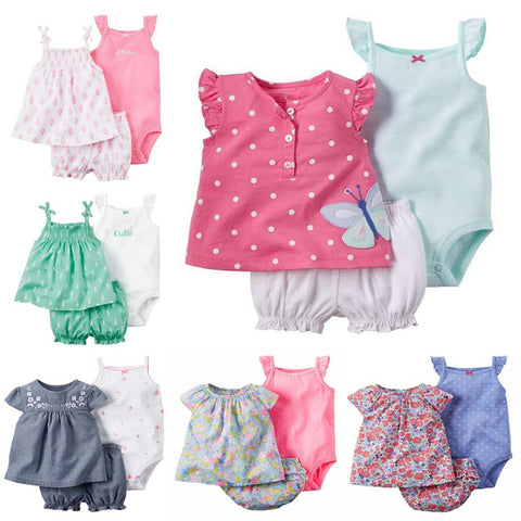 2017 summber imported baby bebes girl clothes set,summer kids newborn infant clothing 3pcs of set vestidos de festa