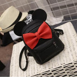 Mickey Backpack 2017New Female bag Quality PU leather Women Backpack Mickey ears Sweet girl bow College Wind Travel Shoulder Bag