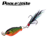 1Pcs Small Minnow 3.2cm 6gMetal Fishing Crankbait Lure 3d Eyes Baits Artificial Bait With Feather Fishing Tackle YR-263