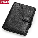 KAVIS Genuine Leather Wallet Men Passport Holder Coin Purse Rfid Magic Walet PORTFOLIO MAN Portomonee Mini Vallet Passport Cover