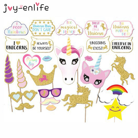JOY-ENLIFE 30pcs/set Rainbow Unicorn Photo Props On a Stick Baby Shower Birthday Party Christmas Decor Photo Prop Funny Toys
