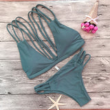 2017 New VELVET Bikini Women Swimsuit Swimwear Bandage Cut Out Brazilian Bikini Set Solid Summer Beach Bathing Suit Biquini