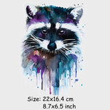 Colife Raccoon Patches T-shirt Press Sticker 23.5*17 cm A-level Washable Iron On Patches For T-shirt Dresses Decoration