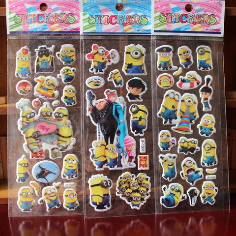 % 10 Sheets/lot 3D Cartoon  Minions wall stickers Kids Toys Bubble stickers Teacher baby Gift Reward PVC Sticker Christmas gift