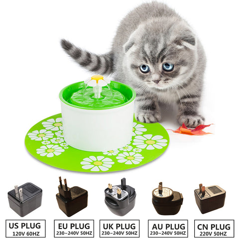 110 220V Electric Flower Pet Fountain 1.6L Automatic Dog Cat Water Feeder Drinking Bowl Pet Drink Cat Water Dispenser Blue Green