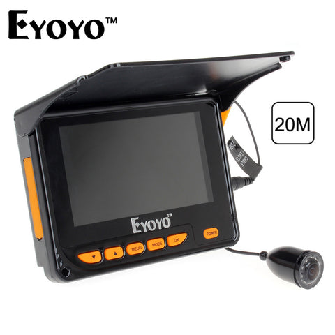 "Eyoyo 20M HD 1000TVL Underwater Ice Fishing Camera Video Fish Finder 4.3"" LCD 8pcs IR LED 150 Degrees Angle"