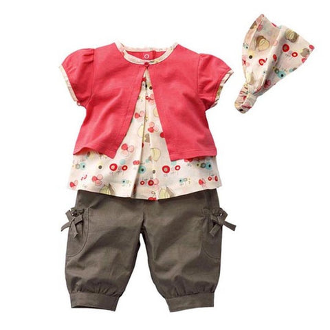 Fashion Cute Autumn 3 Pcs/Set Kids Baby Girls Short Sleeve T-shirt Colored Red Fruits Pattern Top+Pants+Hat Set Outfits Clothes
