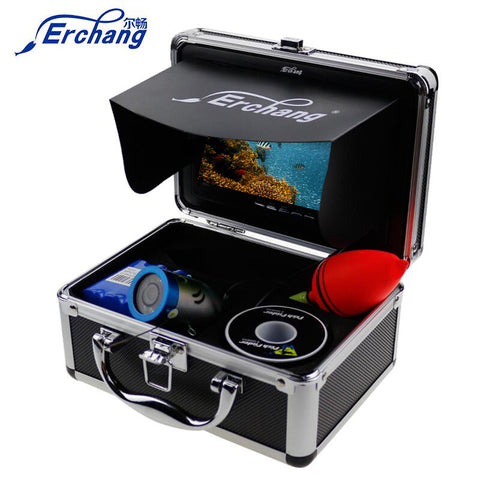 "Erchang Ice Underwater Fishing Video Camera Fish Finder In English 1000TVL 7""Color Fishing Monitor Infrared IR LED Fishfinder"