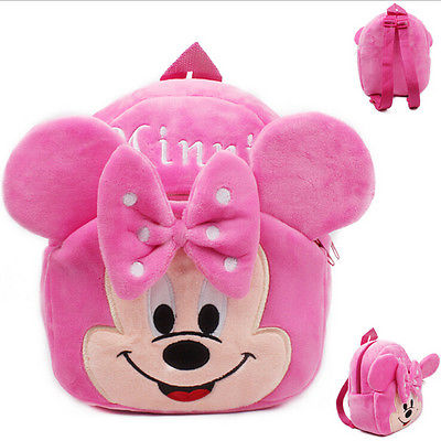 Fashion Kids Baby Girl Cartoon Shoulder Bag Pink Plush Backpack Toddler Schoolbag Satchel