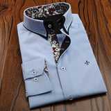 DUDALINA Men Casual Long Sleeved Printed shirt Slim Fit Male Social Business Dress Shirt Brand Men Clothing Soft Comfortable