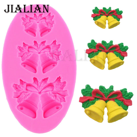 3 Hole Christmas bells chocolate Candy Cookie cake decorating tools DIY baking fondant silicone mold Gumpaste Candy T0469