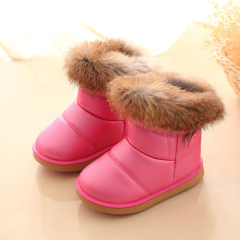aercourm A Winter Girls Snow Boots Children Warm Plush Soft Bottom Boots Leather Winter Snow Boots Baby Toddler Shoes Red 21-30